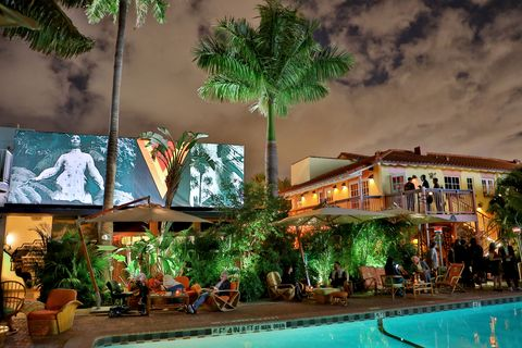 Swimming pool, Tree, Resort, Leisure, Building, Palm tree, Hotel, Arecales, Vacation, Landscape,