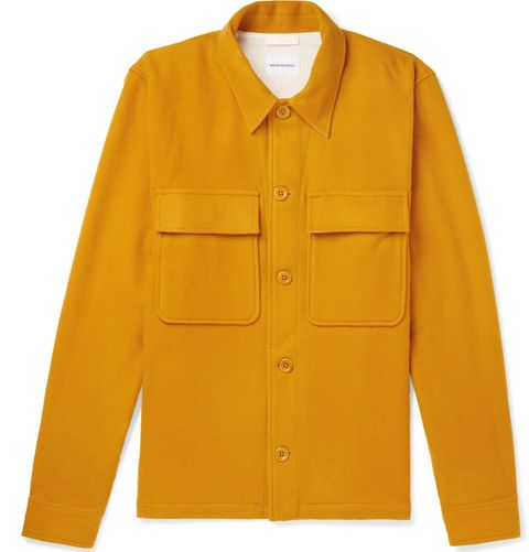 Clothing, Yellow, Outerwear, Sleeve, Orange, Button, Collar, Jacket, Pocket, Top,