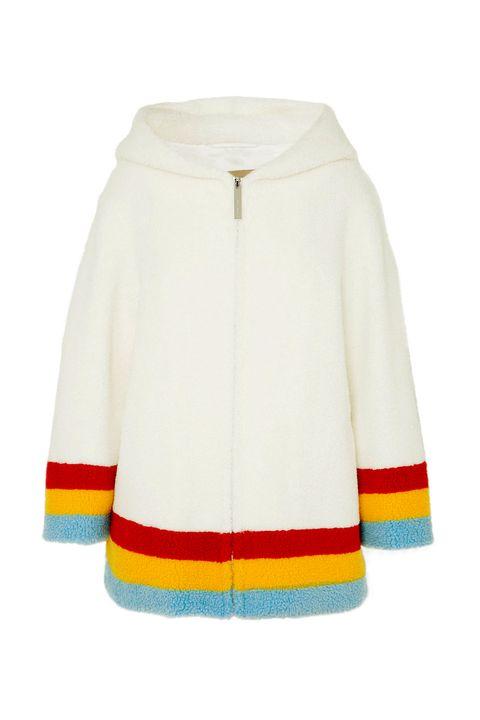 Clothing, White, Outerwear, Yellow, Hood, Sleeve, Jacket, Beige, Coat, Sweater,