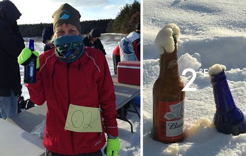 Racer with a beer, and two frozen beers