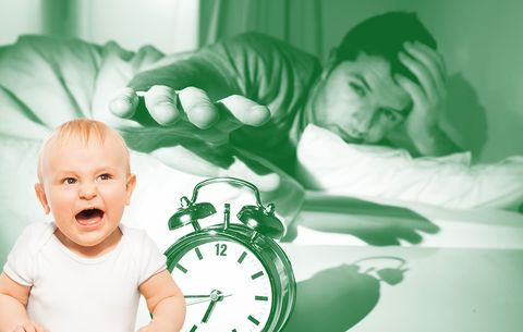 Baby crying and parent turning off alarm