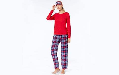 Tommy Hilfiger Flannel Pajama Set with Eye Mask