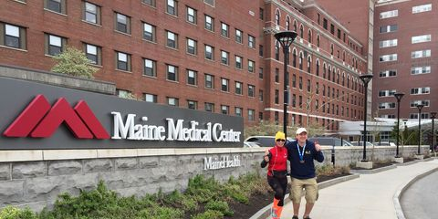 Helene Neville in front of hospital in Maine