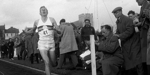 Roger Bannister finishing the first sub-4 mile