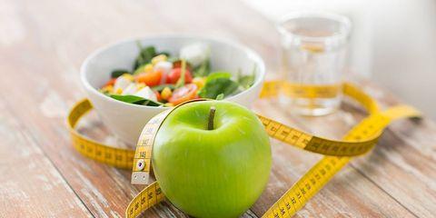 apple, tape measure, salad