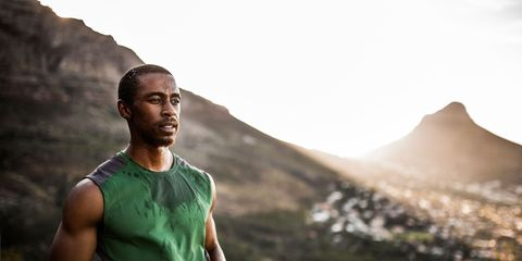 Mountainous landforms, Landscape, People in nature, Hill, Muscle, Chest, Adventure, Trunk, Sleeveless shirt, Hill station,