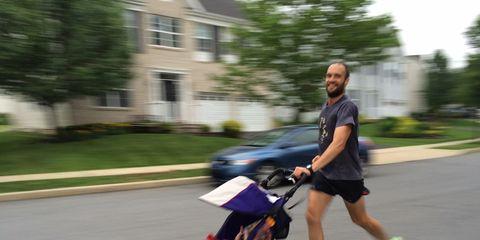 Robert running with jogging stroller
