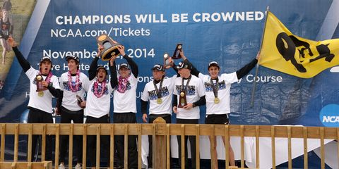 Colorado men take the podium after NCAA nationals in 2014.