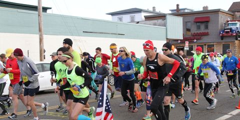 The starting line of the 2015 Millinocket Marathon.