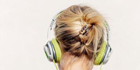Yellow, Audio equipment, Gadget, Purple, Blond, Audio accessory, Hearing,