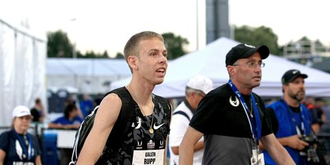 Galen Rupp and Alberto Salazar after the 2015 USATF 10,000 meter championships