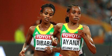 Almaz Ayana leads Genzebe Dibaba.