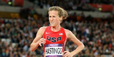 Amy Hastings competes in the 10,000 meters at the 2012 London Olympics