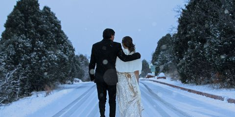 Patrick and Emily Rizzo snowy walk