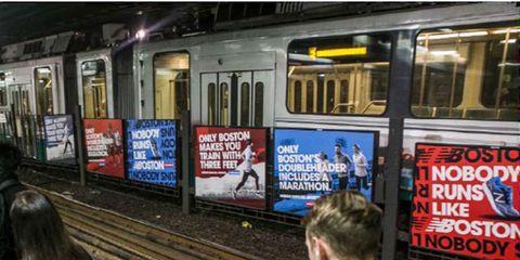 New Balance advertises at Park Street Station in Boston