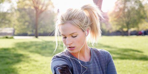 Runner with headphones on
