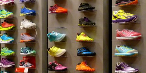 Shoe wall at store.