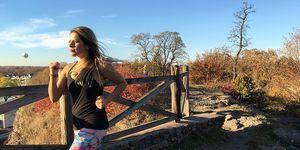 Gina practicing meditation while running