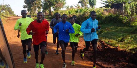 Eliud Kipchoge running a workout in Kenya.