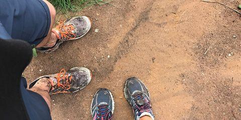 Kristin and Matt's muddy running shoes.