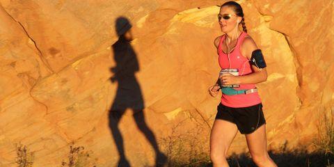 Heather Parke running the 2015 Escalante Canyons Marathon, in Utah.