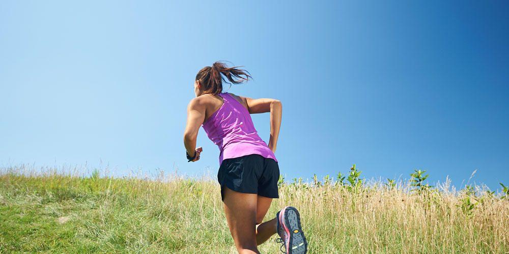 woman running uphill