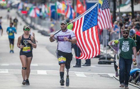 Earl Granville and his guide run the Boston Marathon