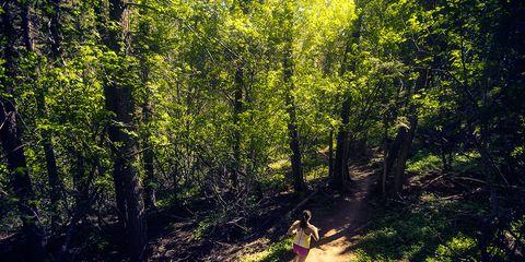 woman running through a trail