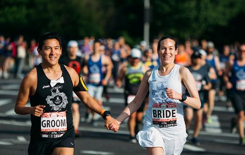 This Couple Ran A Half Marathon With 60 of Their Wedding Guests