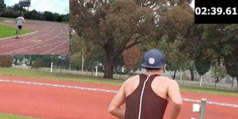 James Hansen beer mile world record video grab