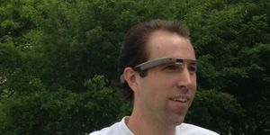 Writer Matt McCue running in Google Glass