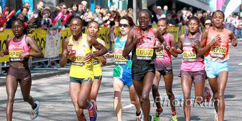 elite women running 2013 London Marathon