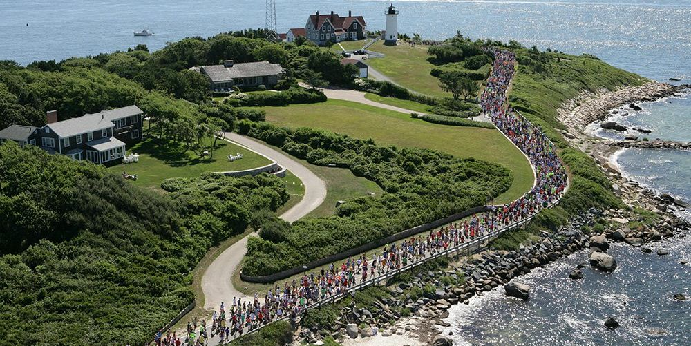 a overhead shot of running coming up to the lighthouse view