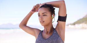 Female runner in sports bra