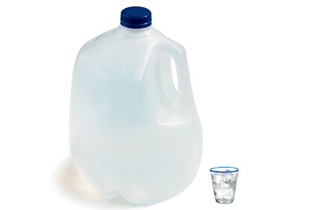 large water jug next to a small water glass