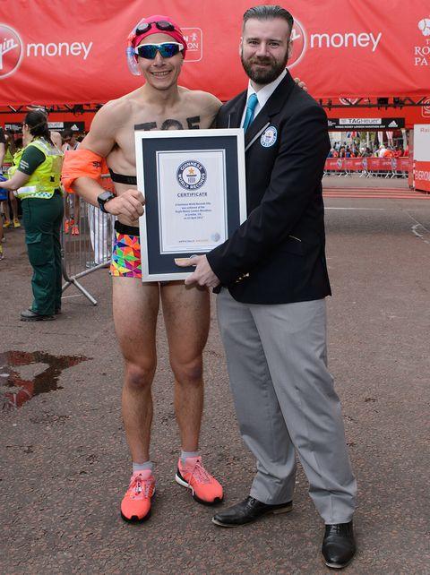 Fastest marathon dressed as a swimmer