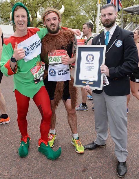 Fastest marathon dressed as an elf, as a Viking