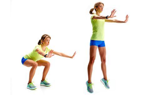 model doing jump squat