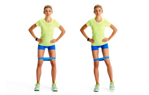model doing lateral band walks