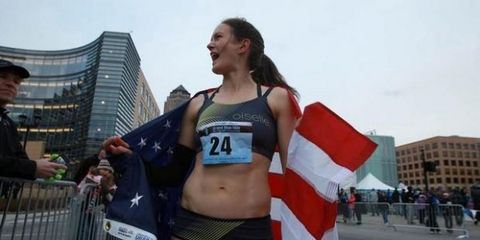 Kate Grace after winning the 2013 Grand Blue Mile
