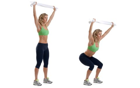 model performing overhead squat
