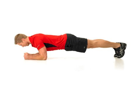 model performing a plank