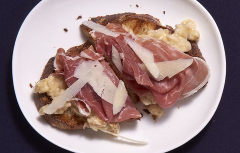 toasted country bread with prosciutto