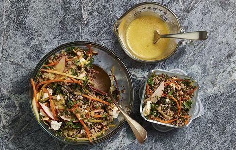 winter quinoa salad with dressing