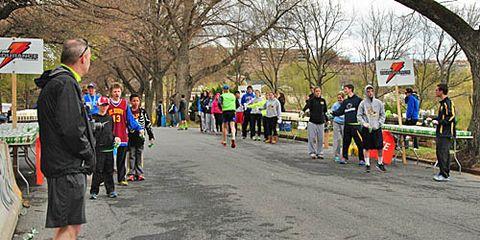 race volunteers at water stop