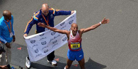 Meb Keflezighi after winning the 2014 Boston Marathon
