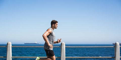 Guy running on a hot day