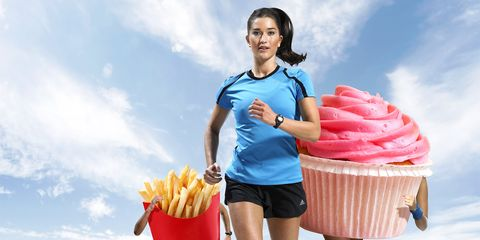 Woman running with cupcakes