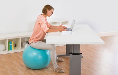 working on an exercise ball