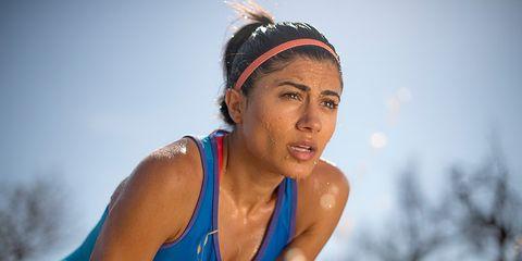 Female runner sweating